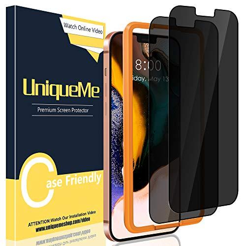 UniqueMe [2 Pezzi] Privacy Pellicola Protettiva Compatibile con iPhone 12 Pro Max 6,7 [Bubble-Free], [Protezione della privacy] Vetro Temperato Con strumenti di installazione[Durezza 9H].