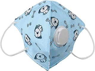 BeAcient Kids Dust Mask with Filter Valve, Cartoon Pattern Printed 5-Layer Breathable Foldable Face Cover Rusable Dustproof Half Mouth Shield