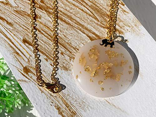 Ivory – 24 Karat Blattgold weiße Harz Halskette mit Elefant und vergoldeter Kette, Feen Halskette, einzigartiges Geschenk für sie - 90LK