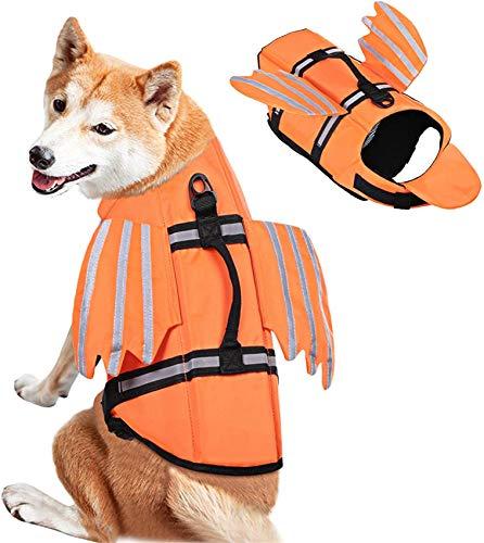 FR&RF Chaleco salvavidas reflectante de seguridad para perro con alas preciosas y mango de rescate Ripstop, naranja, M
