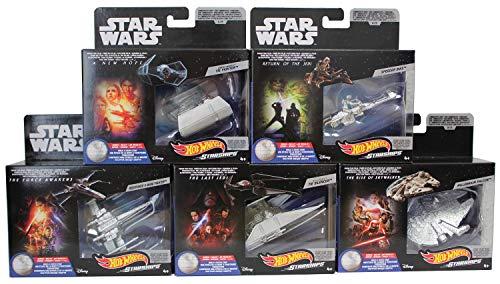 Hot-Wheels Juego de 5 Naves espaciales de Star Wars, vehículos de Juguete, Autos de Juguete para coleccionar y Jugar para niños y fanáticos (Set B)