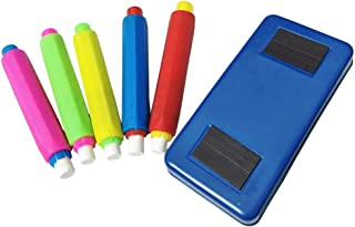 Plastic Chalk Holder And Chalkboard Eraser (5pcs Chalk Holder + Eraser)