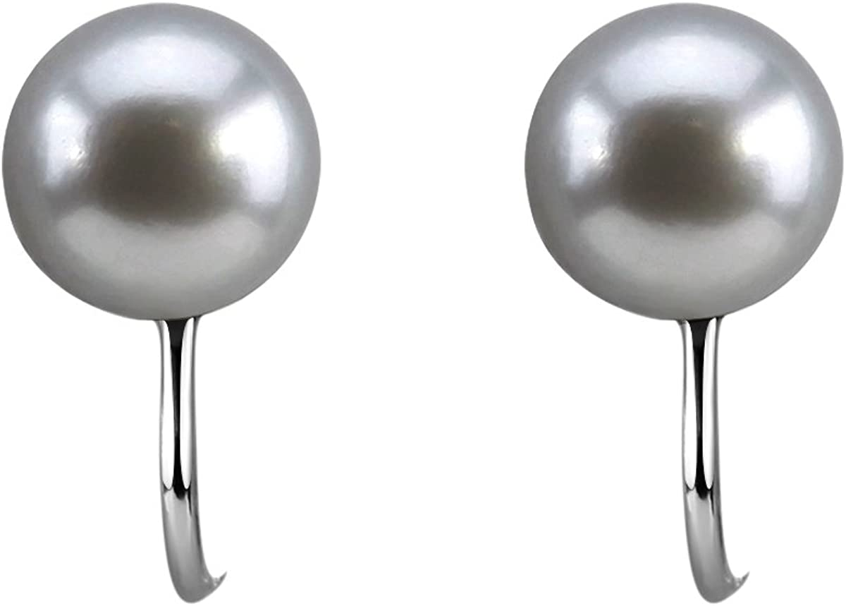 8.0-9.0mm handpicked Ultra-Luster Grey Freshwater Cultured Pearl Clip On Earrings