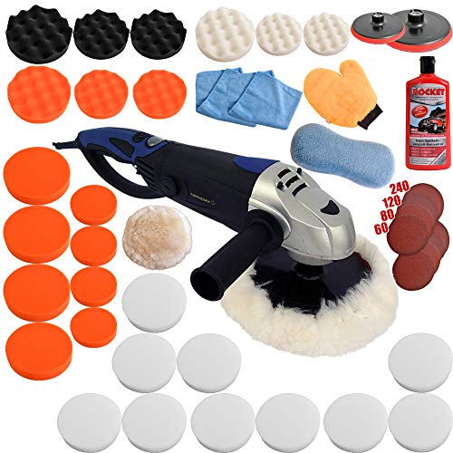 Kingbarney XXXXL Profiset - Poliermaschine/Schleifmaschine 1600 Watt Set 5 + Polierschwamm Zubehörset - inkl. Politur - 49 Teile - Auto polieren