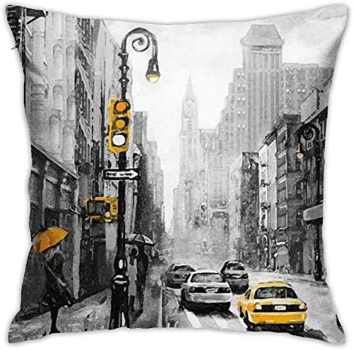 BONRI Vista de la Calle de Nueva York Fundas de Almohada Fundas de cojín para sofá de Coche Fundas de Almohada Decoración del hogar 16×16inch