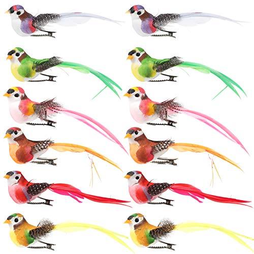 ifundom 12 Piezas Pájaros Artificiales con Clip Pájaros con Plumas Realistas Adorno de Estatuilla de Pájaro de Espuma Simulada Decoraciones de Árboles de Jardín de Pascua para El Hogar
