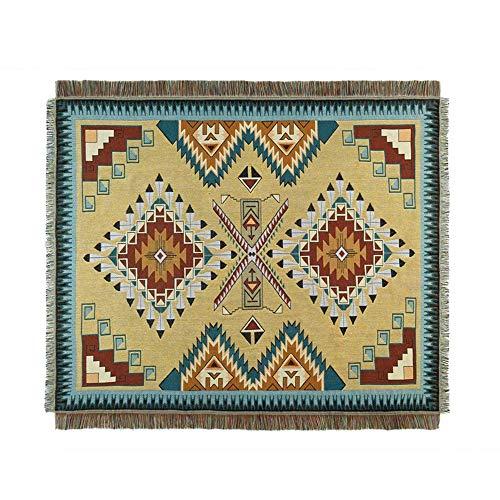 H-CAR Manta de Tiro geométrico Retro Tapiz étnico Funda de sofá multifunción decoración del hogar Alfombra Mantel Manta de Cama, 125 * 150 cm