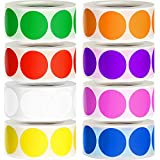 Geyee 4000 Pieces Removable Color-Code Dot Stickers 1 Inch Circle Dots Stickers Round Inventory Label Rolls for Office Inventory Control, 500 Pieces/ Roll, 8 Colors (Classic Colors)