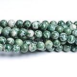 Charming Beads Filo 40+ Verde/Bianco Agata Arborizzata 8mm Tondo Perline CB32060-3