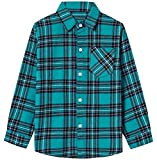Girls' Long Sleeves Button Down Plaid Flannel Shirt Blouse for Children Little and Big Girls, Sea Blue Plaid, 5-6 Years = Tag 130