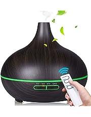 SaponinTree Aromaverstuiver, 550 ml, ultrasone luchtbevochtiger, houtnerf, luchtbevochtiger, elektrische geurlamp met 7 kleuren LED-verlichting voor baby, kamer, kantoor, yoga, salon, spa, slaapkamer