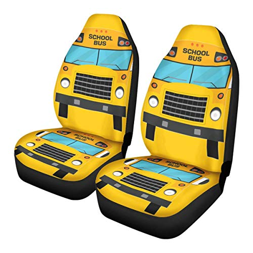 ZERODATE Car Seat Protector School Bus Pattern Car Trucks SUV -Fit Front Seat Covers Soft and Warm Driver & Passenger Accessories for Birthday New Year Present Set of 2 Pcs