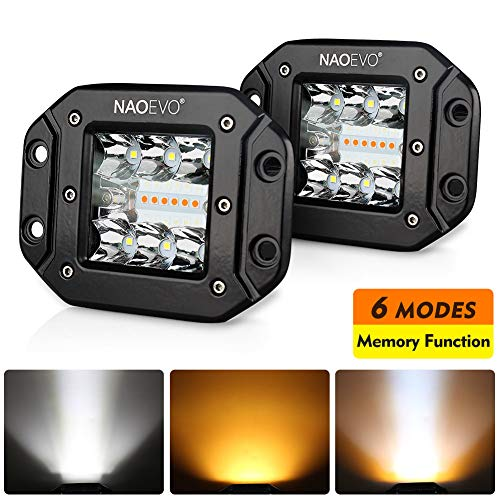 NAOEVO LED Pods 6 Lighting Modes, 5Inch 72W Amber White Waterproof Flush Mount LED Light Bar with Memory Function, Off Road Fog Driving Work Lights for Truck Boat Jeep ATV