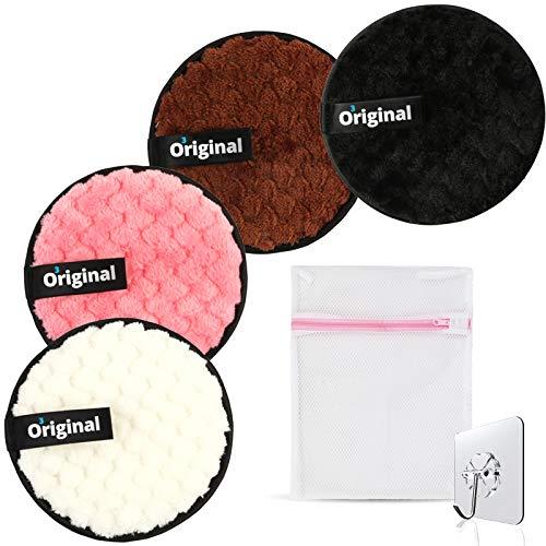 Coton Demaquillant Lavable et Réutilisable Lingette Demaquillante Lavable Disque Demaquillant Lavable Eponge Demaquillante 1 Sac et 1 Crochet Adhésif offerts