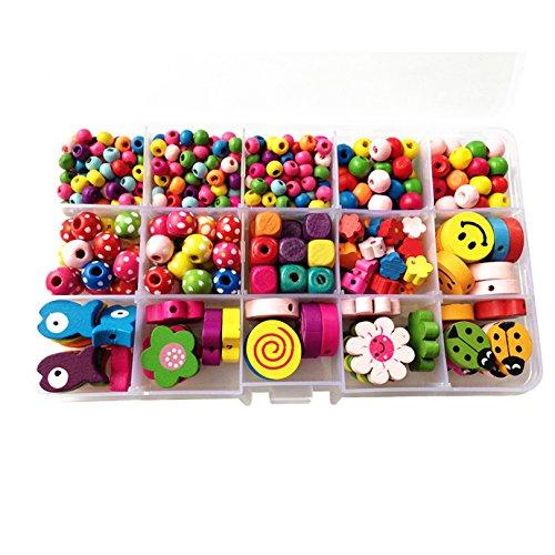 Eleery 15-Fach Mädchen DIY Perlen Bastelset Handwerk Bunte Perlen zum auffädeln Kinder Holzperlen für Armbänder Schmuck Handgemacht Spielzeug ab 5 Jahre Geschenk