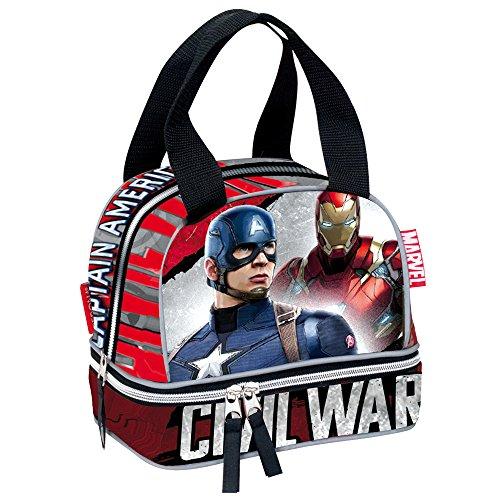 Marvel Guerre Civile la Justice Captain America et Iron Man Sac à Repas école (Rouge)