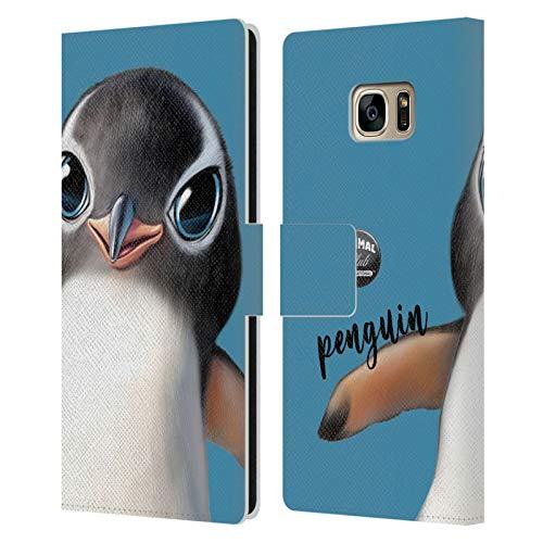 Head Case Designs Licenza Ufficiale Animal Club International Pinguino Facce Cover in Pelle a Portafoglio Compatibile con Samsung Galaxy S7 Edge