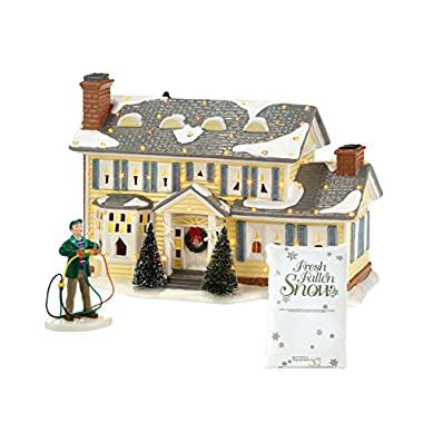Department 56 National Lampoon Christmas Vacation The Griswold Holiday House With Fire It Up Dad Accessory And Village Fresh Fallen 10oz Bag of Snow