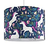 Self Assembly Large Multi Coloured Unicorn Design Polycotton Cylinder Rolla Ceiling Pendant/Table Or Floor Lamp Drum Light Shade