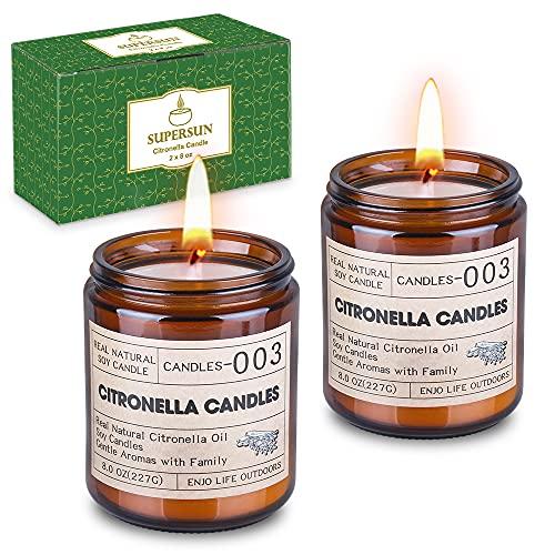 Supersun 240Std Citronella Kerze Groß, Outdoor Kerzen Draußen Citronella Kerzen für Garten, Terrasse