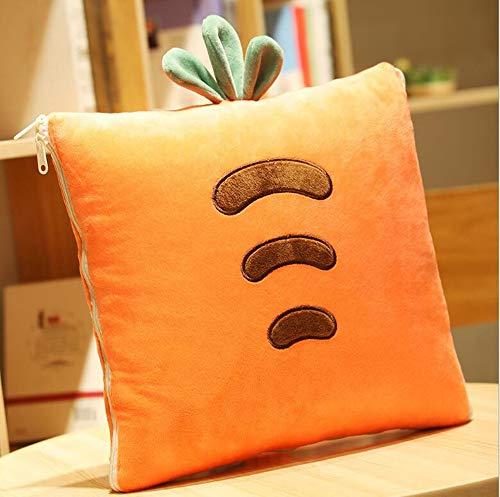 Ecloud Shop Manta Creative Cushion 2 en 1 Pillow Quilt Cojín Multifuncional Cojín Respaldo Cojín Suave y Cálido Siesta Mat Cojines para Sofá Cama Silla de Oficina (Zanahoria)