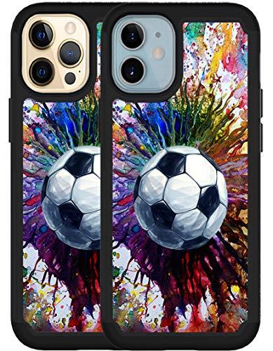 OptiCase iPhone 12 Case, iPhone 12 Pro Case - Vintage Soccer Splatter Printed Designer Hybrid Case - Unique Shockproof Heavy Duty Protection iPhone 12 Case/iPhone 12 Pro Case [6.1']