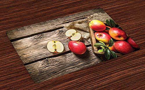 Soefipok Obst Tischsets, Schachtel mit Äpfeln in auf Holzboden strafbar rostigen organischen Ernährung Vitaminernte, waschbare Stoff Tischsets für Esszimmer Küchentisch Dekor , 6er Set