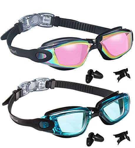 EverSport Swim Goggles, Pack of 2, Swimming Glasses for Adult Men Women Youth Teens, Anti-Fog, UV Protection, Shatter-Proof, Watertight(Black with Pink Lenses & AquaBlue)