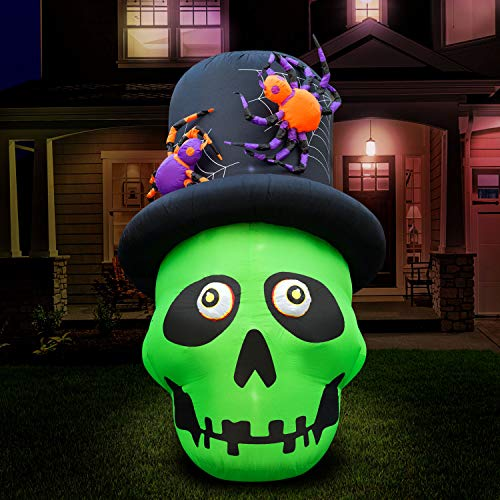 Holidayana 6 ft Inflatable Halloween Top Hat Skull Yard Decoration – 6 ft Tall Lawn Decoration, Bright Internal Lights, Built-in Fan, and Included Stakes and Ropes