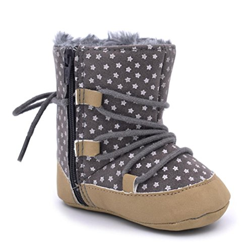 GBSELL New Casual Baby Toddler Winter Warm Star Print Snow Boots Soft Crib Shoes (Gray, 6~12 Month)