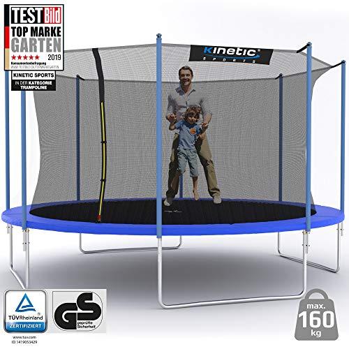 Kinetic Sports Outdoor Gartentrampolin Ø 490 cm, TPLH16, Komplettset inklusive Sprungtuch aus USA PP-Mesh +Sicherheitsnetz +Randabdeckung, bis 150kg, GS-geprüft,UV-beständig, BLAU