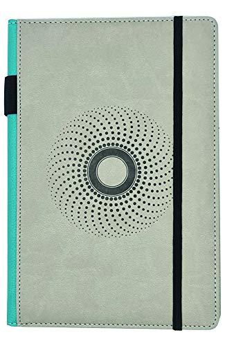 EJRange Cuaderno A5 forrado – Funda para cuadernos de piel sintética, tacto suave, soporte para bolígrafos, cinta, planificador de libretas con rayas, 192 páginas (gris)