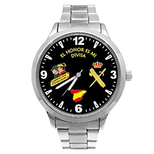 Reloj G&B Guardia Civil Cadena Acero Esfera Negra