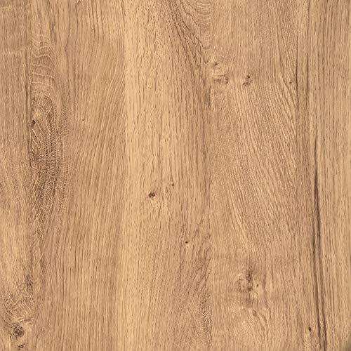 [12,14€/m²] Klebefolie für Möbel Küche Tür & Deko I Selbstklebende Folie inkl. Filzrakel zur Verarbeitung I 3D Fototapete in rustikaler Eiche Holzoptik [210 x 90cm I Exaktes Türmaß]
