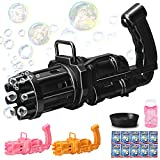 Bubble Gun, Bubble Gatling Gun 8 Holes with Multiple Bubbles, Free 10 Packs of Bubble Water, Children's Outdoor Toys (Black)