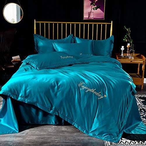 yaonuli Vierdelig effen dekbed van geborduurd Indigo 1,8 m (bed 180 * 200 cm) (dekbedovertrek 220 * 240 cm)