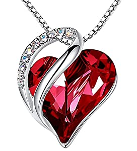 """Leafael""""Infinity Love"""" Heart Pendant Necklace Made with Swarovski Crystals Siam Ruby Red January July Birthstone Jewelry Gifts for Women, Silver-tone, 18""""+2"""", Presented by Miss New York from Leafael"""