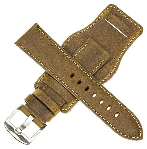 22mm German Military Aviator Watch Strap Swiss Army Brown Leather Cuff Watch Band Brown 22 mm Bund X1