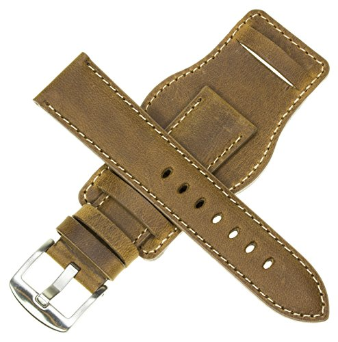 16mm German Military Aviator Watch Strap Swiss Army Brown Leather Cuff Watch Band Brown 16 mm Bund X1