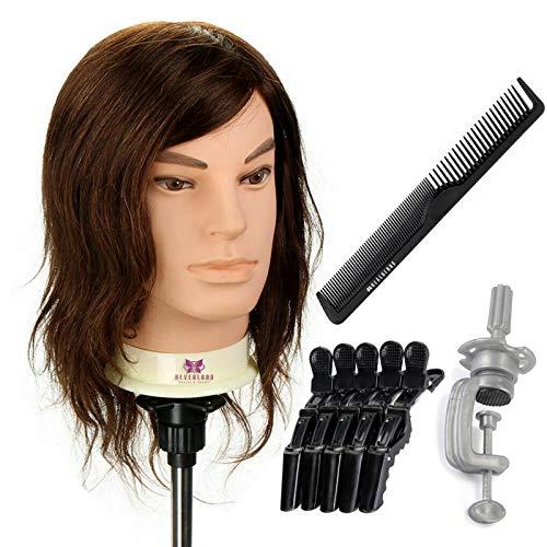 Cabeza de entrenamiento hombre barar masculino de 12 pulgadas de Neverland 90% Maniquí de pelo real Muñeca de peluquería Cabeza de peluquería de salón Práctica de corte con clips+abrazadera+peine
