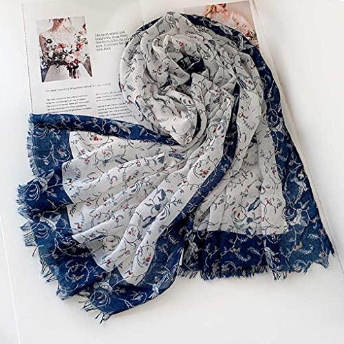 UII Bufanda personalizada floral bohemia primavera y verano viajes estilo étnico algodón y lino seda bufanda mujer protector solar mantón