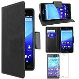 ebestStar - kompatibel mit Sony Xperia M4 Aqua Hülle M4 Aqua Dual Wallet Hülle Handyhülle [PU Leder], Kartenfächern, Standfunktion, Schwarz +Panzerglas Schutzfolie [M4 Aqua: 145.5x72.6x7.3mm 5.0