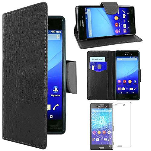 ebestStar - kompatibel mit Sony Xperia M4 Aqua Hülle M4 Aqua Dual Wallet Case Handyhülle [PU Leder], Kartenfächern, Standfunktion, Schwarz +Panzerglas Schutzfolie [M4 Aqua: 145.5x72.6x7.3mm 5.0
