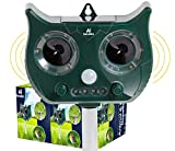 Ultrasonic Animal Solar Repeller Repellent with Motion Activated and Flashing LED Lights Outdoor Waterproof Repeller for Dogs, Cats, Racoon, Deer, Birds, Skunks, Squirrels, Rabbit, Fox and More