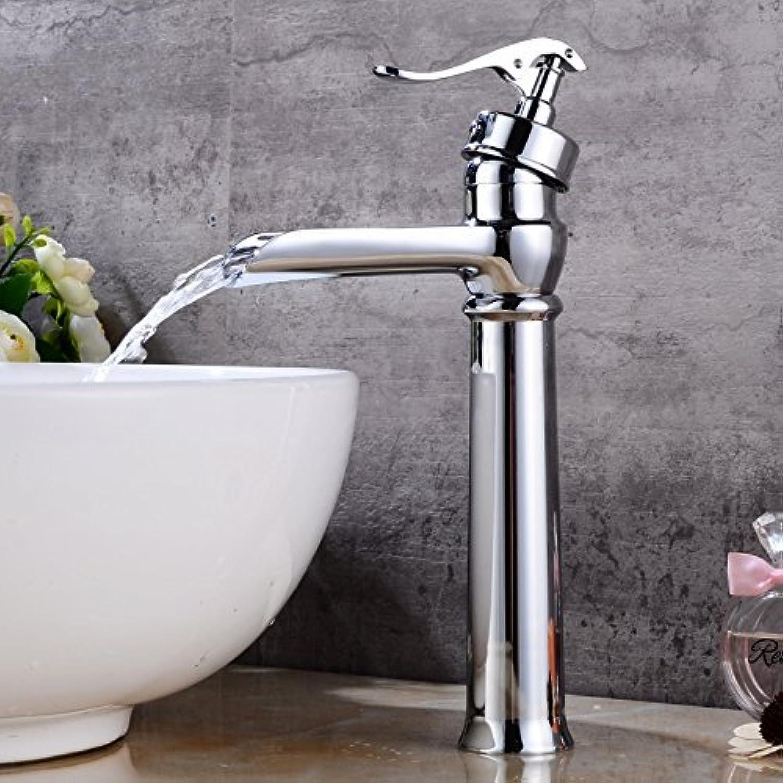 Messing Chrom Wasserfall Wasserhahn Einloch einzigen Griff Badezimmer gro Waschbecken Wasserhahn