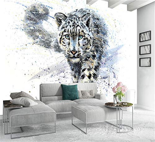 3D Kreative Kunstdrucke Bilder Blaue Augen Leopard Tiger Leinwand Ölgemälde Tapete Schwarz Und Weiß Tier Poster Home Deco, 250 cm X 175 cm