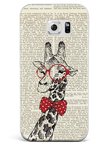 Inspired Cases - 3D Textured Galaxy S7 Case - Rubber Bumper Cover - Protective Phone Case for Samsung Galaxy S7 - Nerdy Giraffe - Vintage Encyclopedia Page