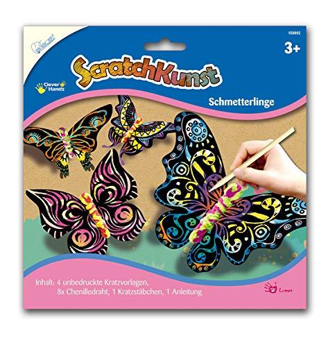 Mammut Spiel & Geschenk 158002 Scratch Art Schmetterlinge mit 4 Kratzvorlagen, bunt