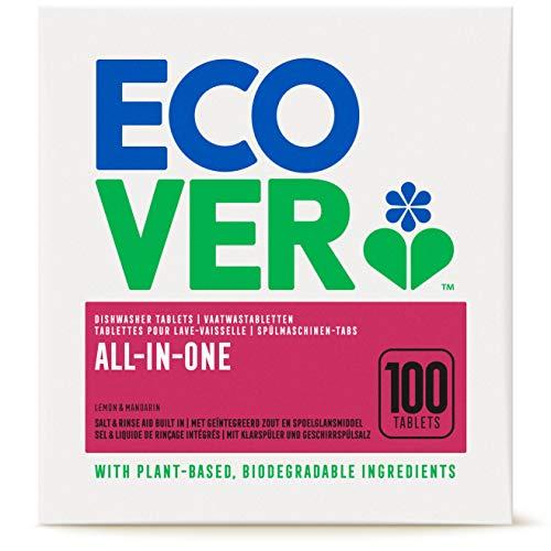Ecover All-In-One Spülmaschinen-Tabs Zitrone & Mandarine (100 Stück/2 kg), Multi-Tabs für eine kraftvolle Reinigung, Ecover Spülmaschinentabs mit Klarspüler und Geschirrspülsalz