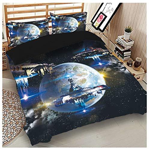 Sticker Superb 3D Ropa de Cama para Niños Funda Nórdica Interestelar Nave Espacial Planeta Estrella Galaxia Acorazado Cobertor de 180x220 cm para Camas de 90/105 (Galaxia C, 180_x_220_cm)